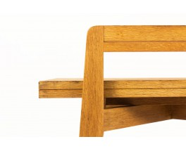 Convertible console table in solid oak reconstruction design 1950