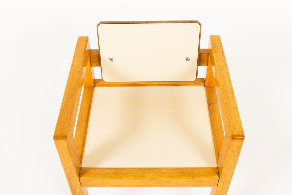 André Sornay kid chair in solid mahogany and white off Isorel 1960