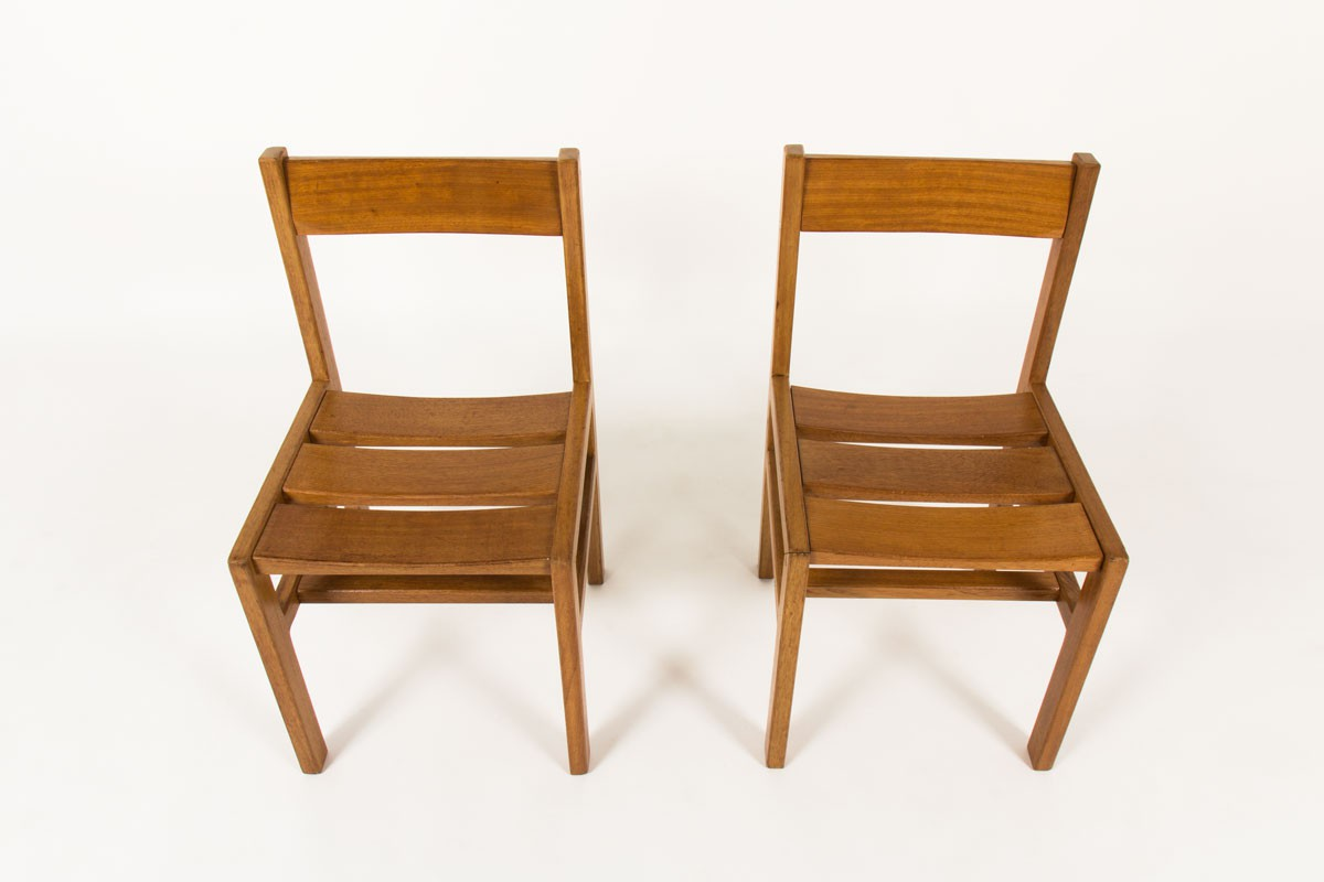 Andre Sornay chairs in mahogany 1960 set of 2