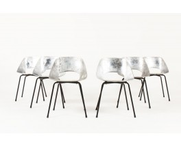 Pierre Guariche chairs model Tulip in aluminum edition Steiner 1950 set of 6