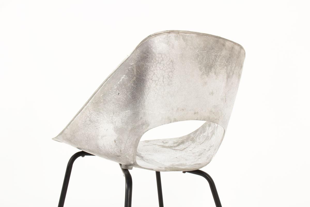 Chaises Pierre Guariche modèle Tulipe en aluminium édition Steiner 1950 set de 6