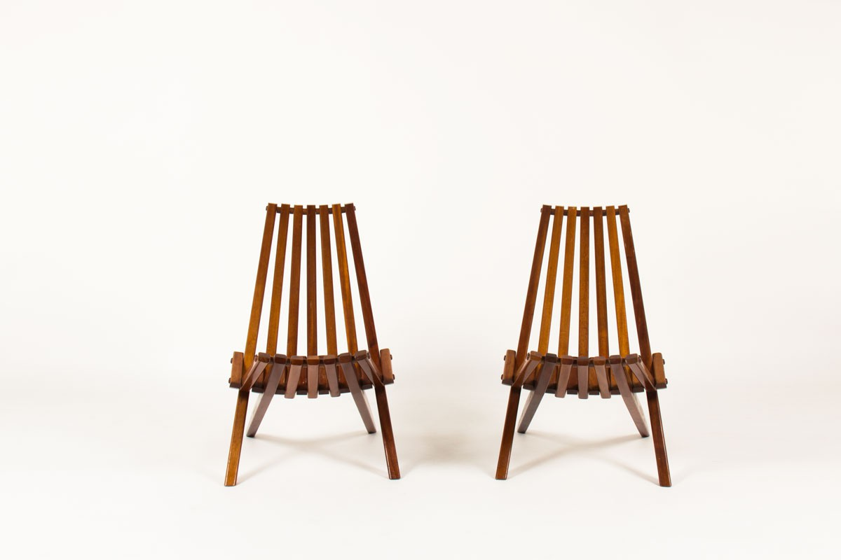 Stackable armchairs in mahogany scandinavian design 1970 set of 2