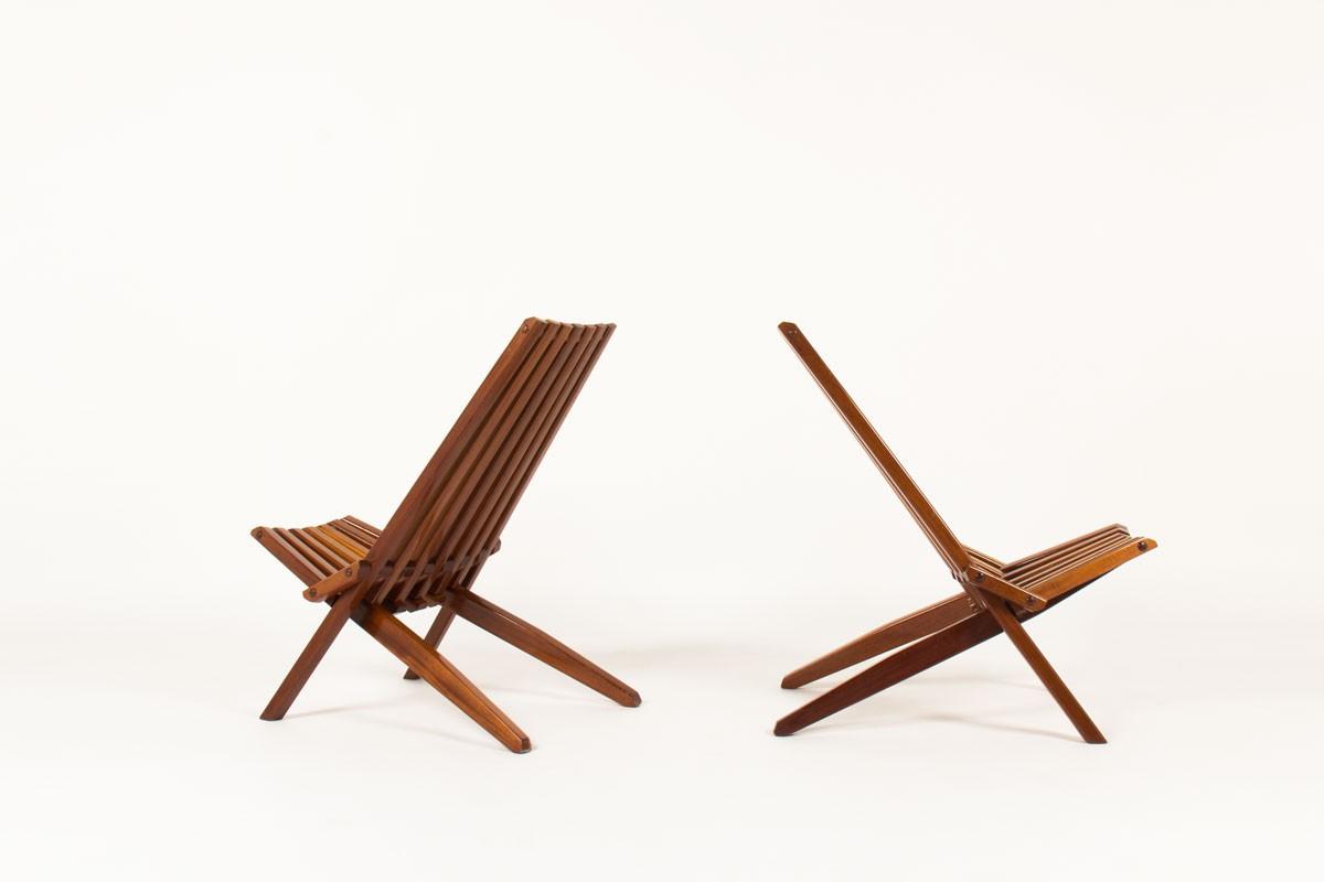 Stackable armchairs in mahogany scandinavian design 1970 set of 2
