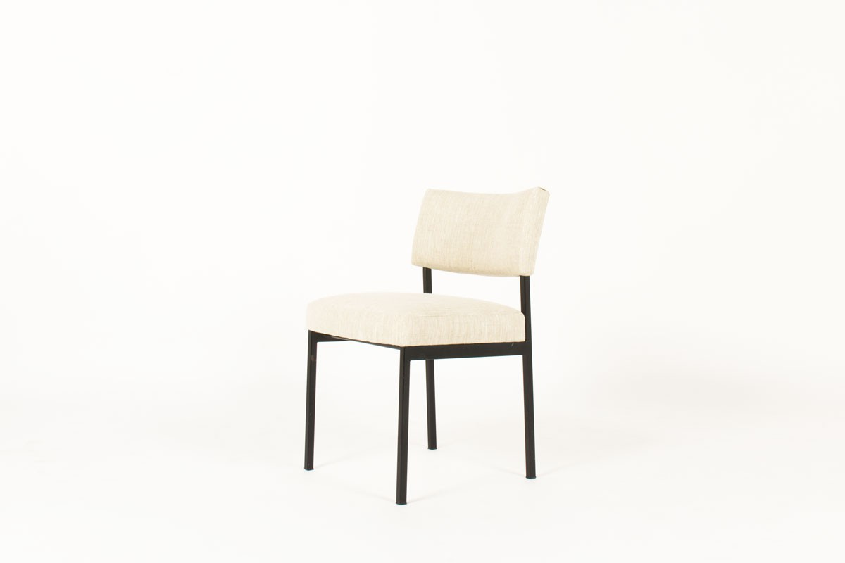 Joseph Andre Motte chairs model 764 beige linen edition Steiner 1950 set of 8