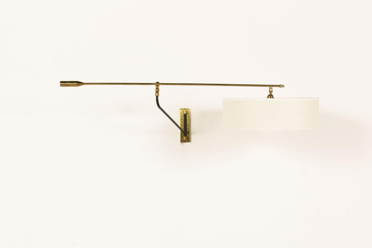 Applique à balancier métal noir laiton abat-jour papier beige 1950