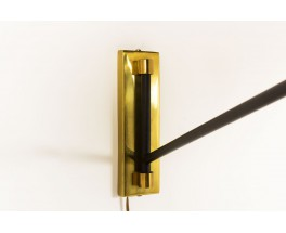 Wall lamp with counterweight in black metal brass and beige paper lampshade 1950