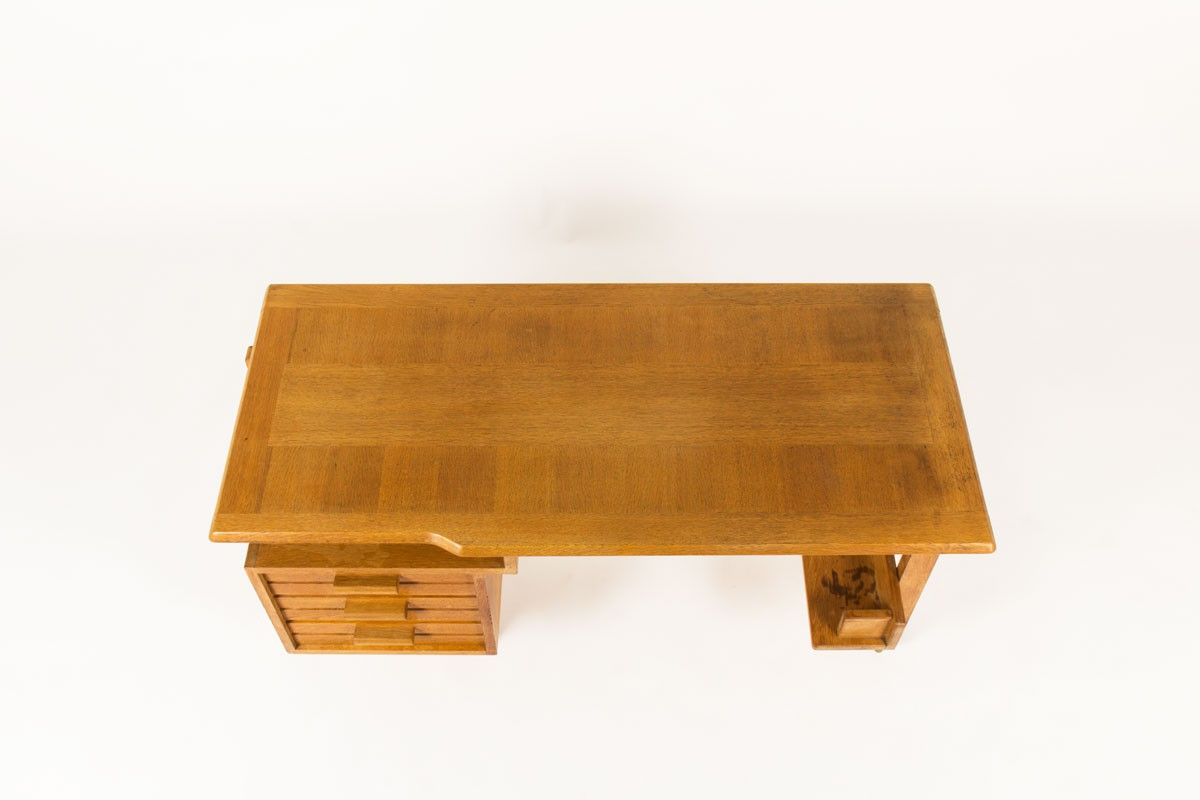 Guillerme and Chambron desk in oak edition Votre Maison 1960