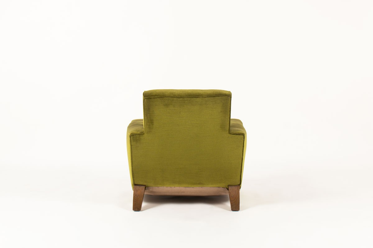 Club armchair green velvet fabric and wood design Art deco 1930
