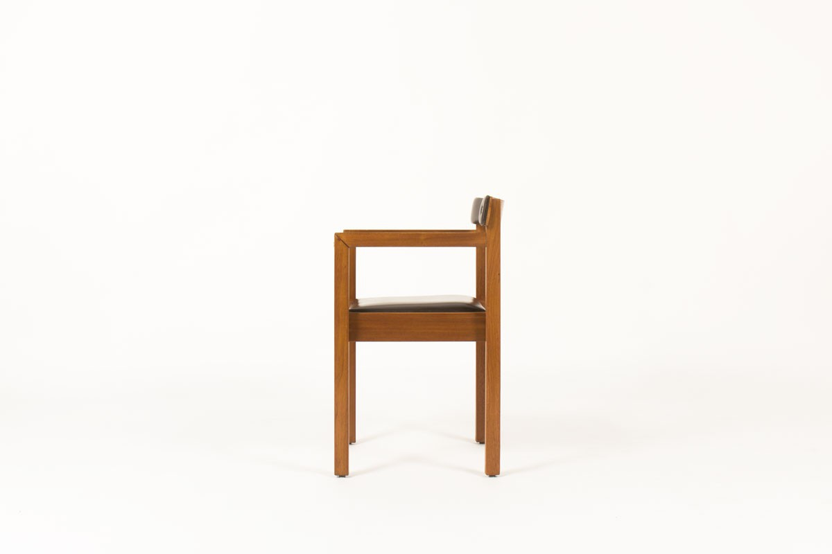 André Sornay office armchair in mahogany and brown leatherette 1960