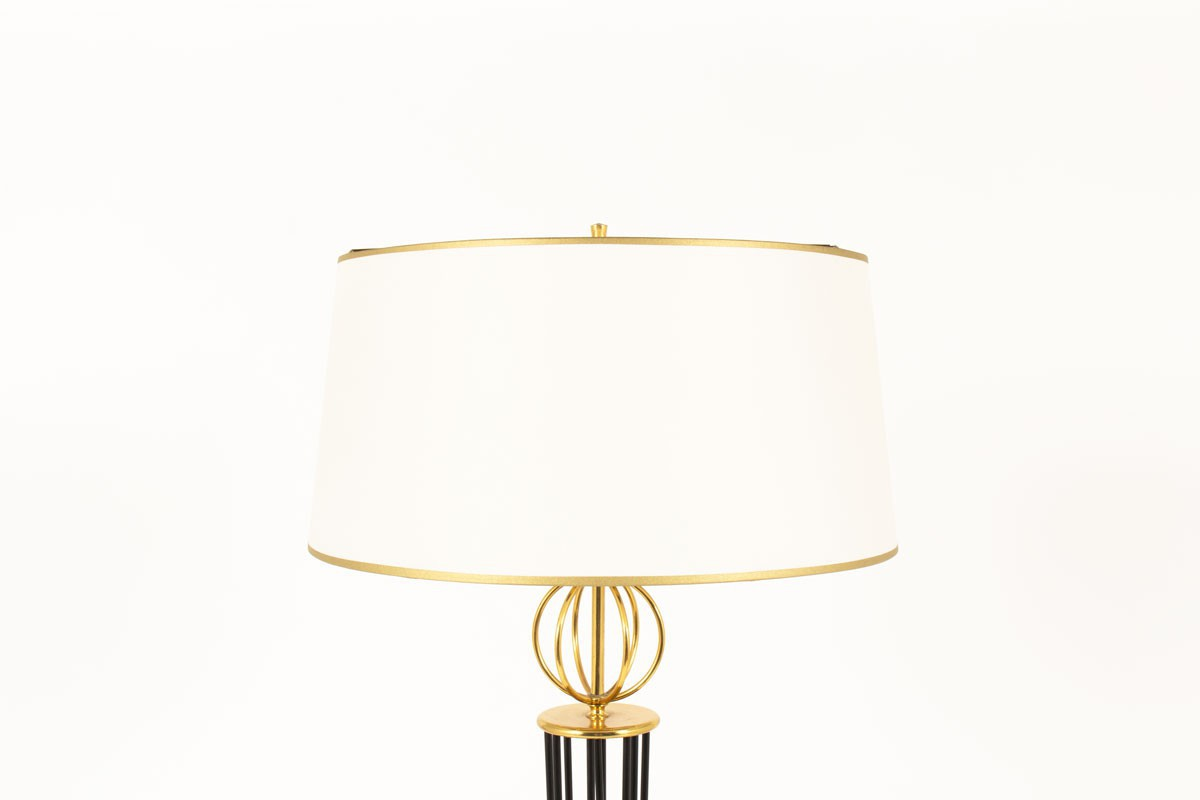 Floor lamp in brass black metal and beige paper lampshade 1950