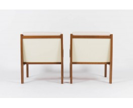 Andre Sornay armchairs in mahogany with beige fabric 1950 set of 2
