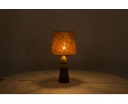 Lamp in beige and brown ceramic with burlap lampshade 1950
