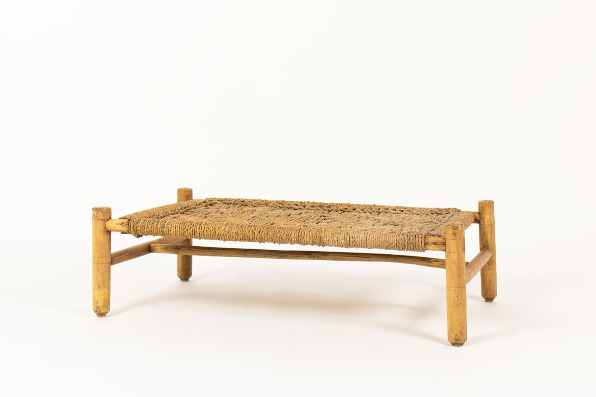 Adrien Audoux and Frida Minet coffee table in straw and natural wood edition Vibo 1950