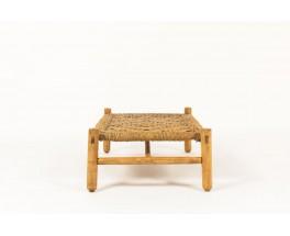 Table basse Adrien Audoux et Frida Minet en paille tressée et bois naturel édition Vibo 1950