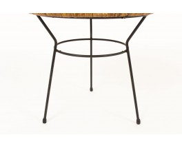Roberto Mango coffee table in black metal and wicker 1950
