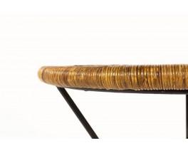 Table basse Roberto Mango en métal noir et osier tressé 1950