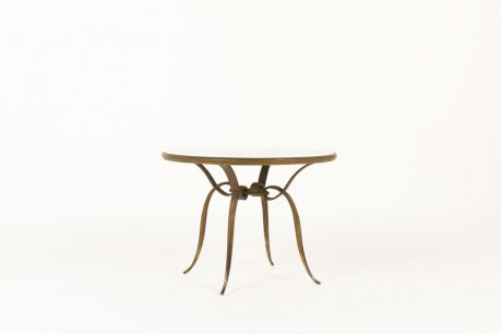 Rene Prou round coffee table in patinated gold metal and screen-printed glass top 1930