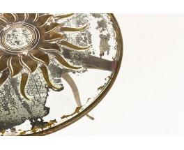Table basse ronde René Prou métal doré patiné et plateau verre sérigraphié 1930