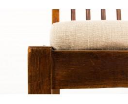 Chaises Guillerme et Chambron chêne et lin beige édition Votre Maison 1960 set de 6