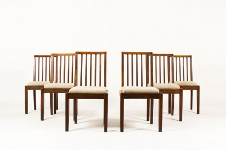 Guillerme and Chambron chairs oak and beige linen edition Votre Maison 1960 set of 6