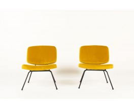 Pierre Paulin low chairs model CM190 in yellow velvet edition Thonet 1950 set of 2