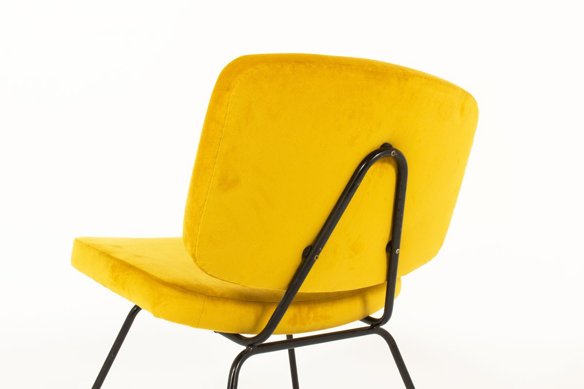 Chauffeuses Pierre Paulin modèle CM190 tissu jaune moutarde édition Thonet 1950 set de 2