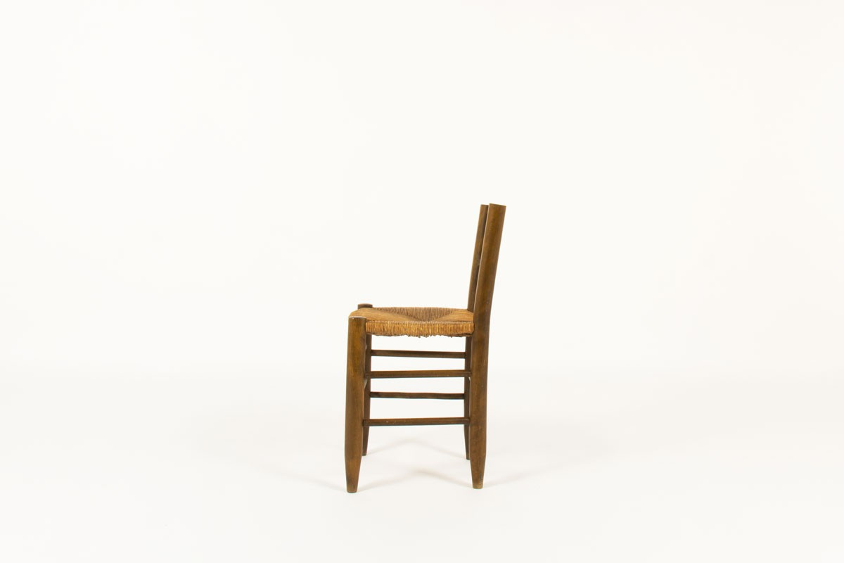 Chairs in tinted beech and straw seat 1950 set of 6