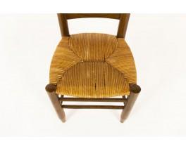 Chaises en hêtre teinté et assise paille 1950 set de 6