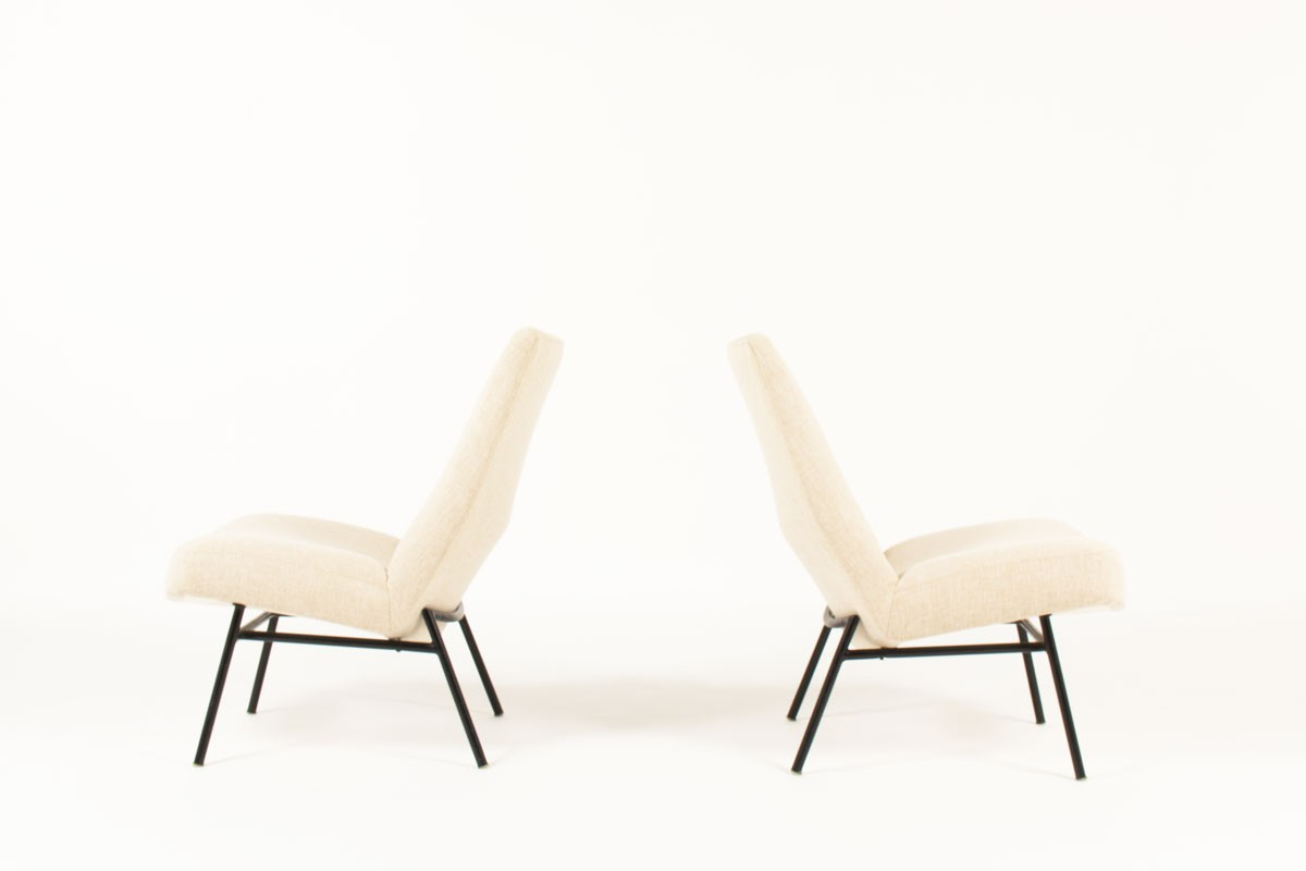 Pierre Guariche armchairs model SK660 in beige fabric edition Steiner 1950 set of 2