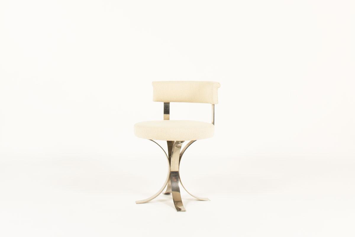 Chaises en acier chromé et assise tissu beige 1970 set de 6