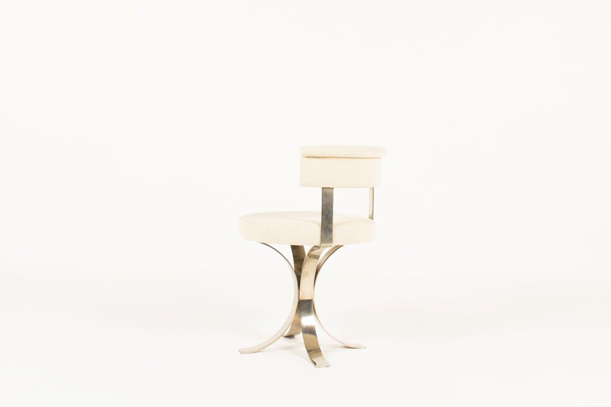 Chairs in chrome steel and beige fabric seat 1970 set of 6