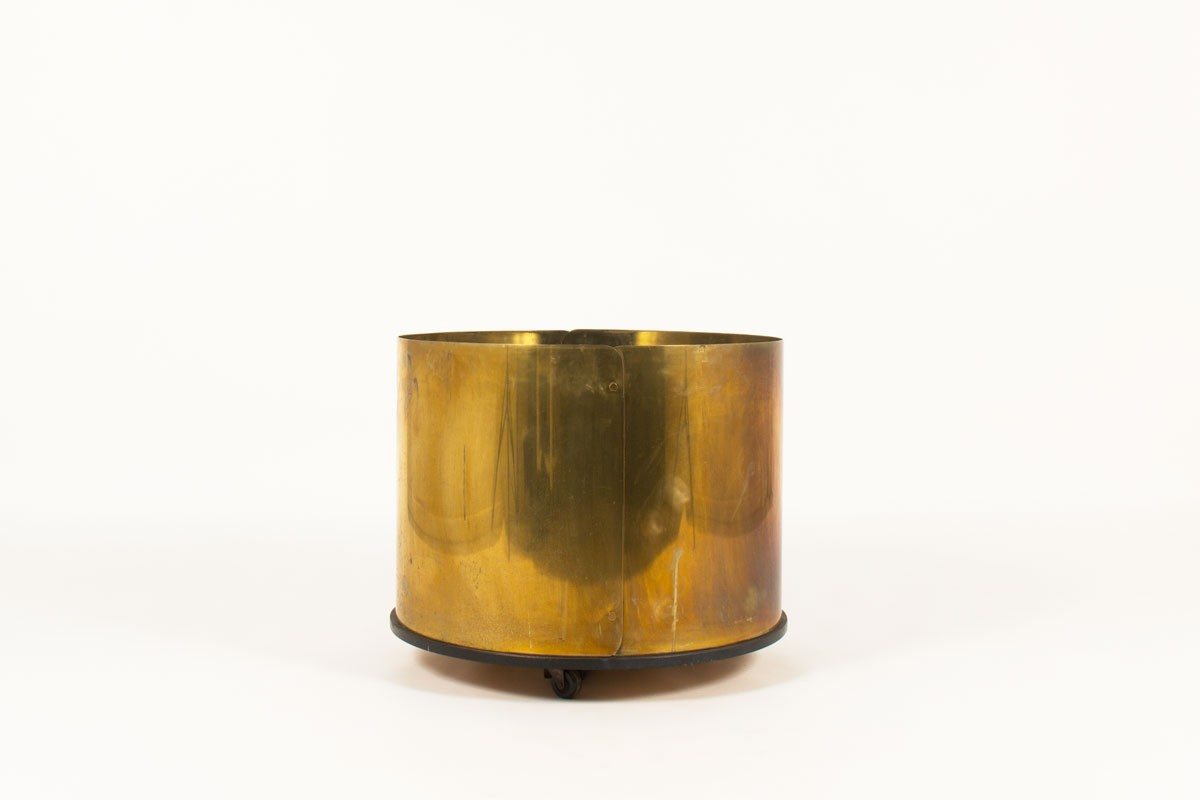 Round planter in solid brass large model with wheels 1950