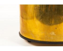 Cache-pot rond en laiton massif grand modèle à roulettes 1950