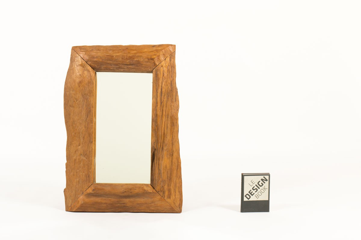 Miroir rectangulaire cadre en noyer 1950