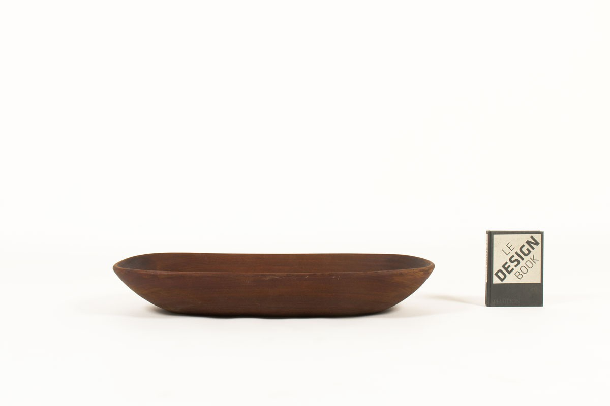 Plat ovale en teck grand modèle design scandinave 1950