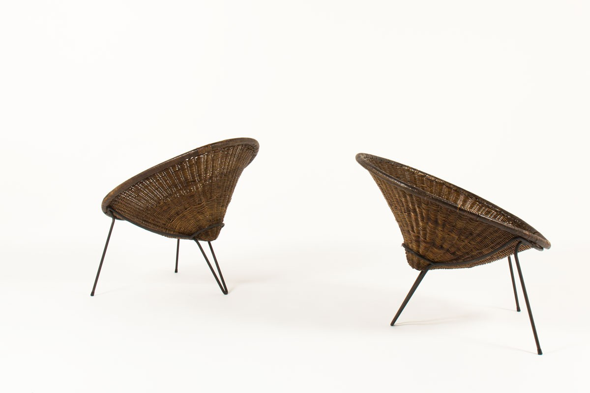 Roberto Mango armchairs black metal and rattan 1950 set of 2