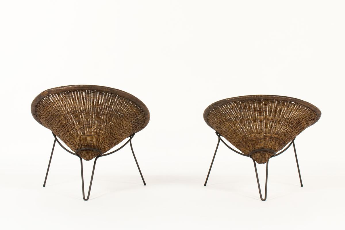 Fauteuils Roberto Mango métal noir et rotin 1950 set de 2