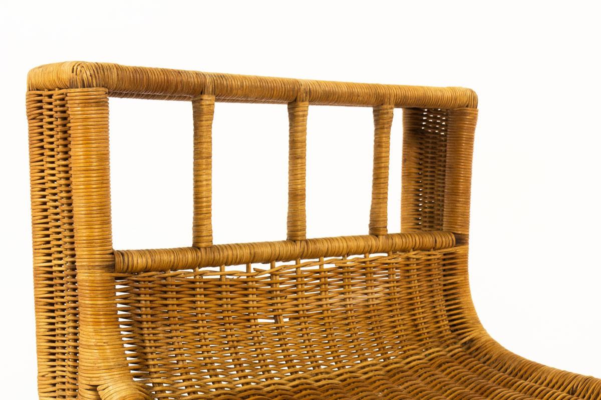 Stool in braided rattan 1950