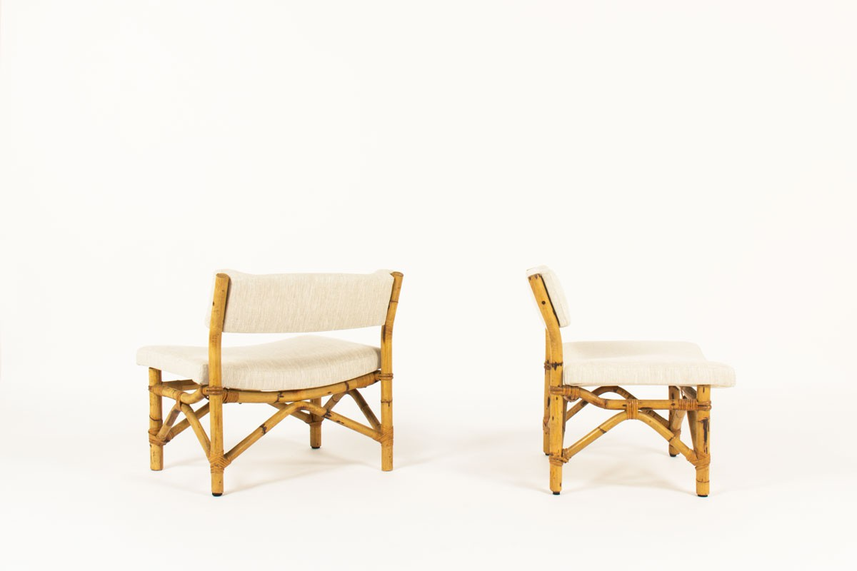 Low chairs in rattan and beige linen fabric 1950 set of 2
