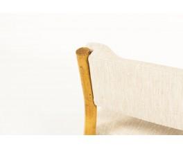 Chauffeuses en rotin et tissu lin beige 1950 set de 2
