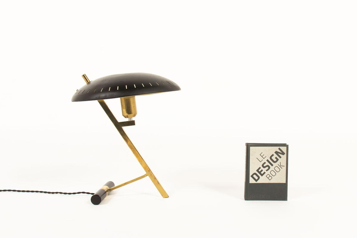 Lampe Louis Kalff modèle Z en laiton et métal noir édition Philips 1950
