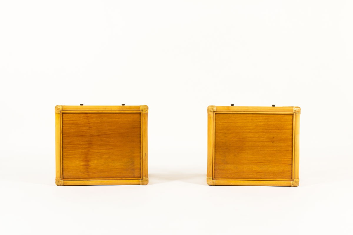 Nightstands in bamboo and mahogany 1950 set of 2