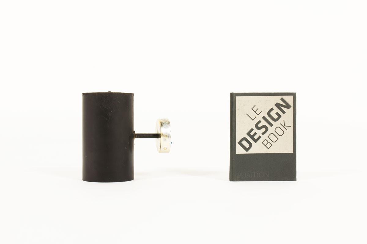 Applique métal noir et aluminium doré édition Parscot 1950