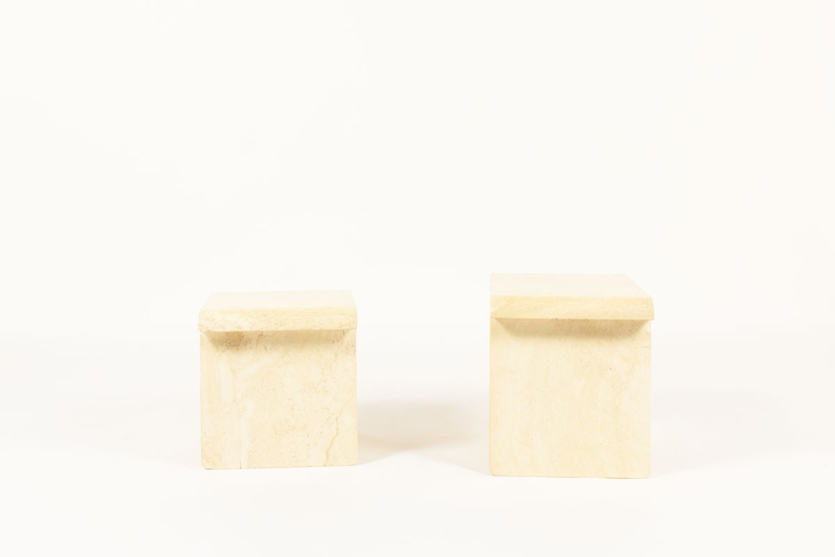 Nested coffee tables in beige travertine 1970 set of 2