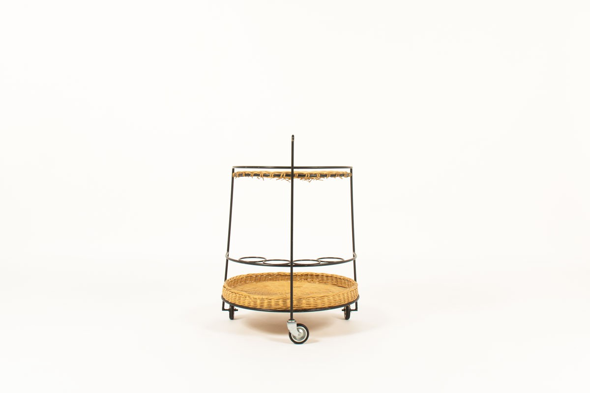 Service table with wheels in black metal and rattan 1950
