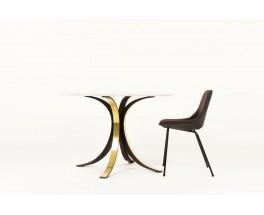 Osvaldo Borsani dining table model T69 brass and Carrara marble top edition Tecno 1960