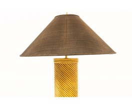 Lamps in rattan with brown lampshades 1950 set of 2