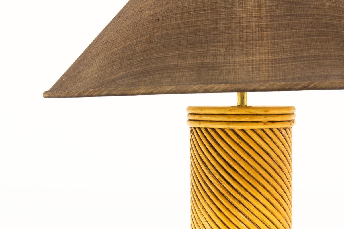 Lampes en rotin et abat-jours marron 1950 set de 2