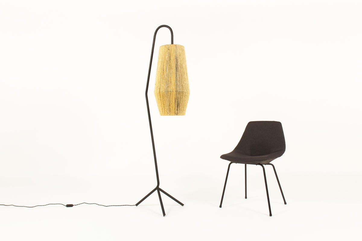Tripod floor lamp in black metal with rope lampshade 1950