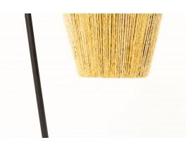Tripod floor lamp in black metal with rope lampshade 1950